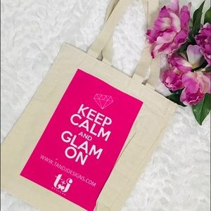 Keep Calm and Glam On Pink Canvas Tote